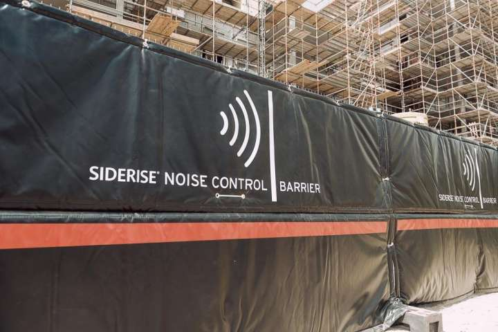 Noise reduction with acoustic noise barrier Heras